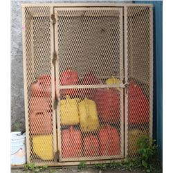 METAL CAGE WITH JERRY CANS