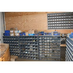 3 PARTS BINS W/CONTENTS & WALL BIN OF BOLTS,
