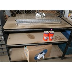 SHELF WITH CONTENTS, INCLUDES HOOK RACKS & BOX