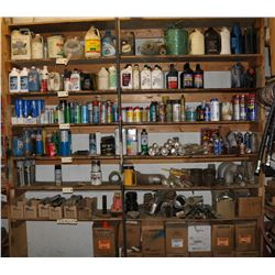 SHELF CONTENTS, INCLUDES VARIOUS OILS, GREASE,