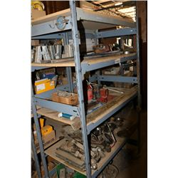SHELF WITH CONTENTS, INCLUDES SAWS, METRE STICKS,