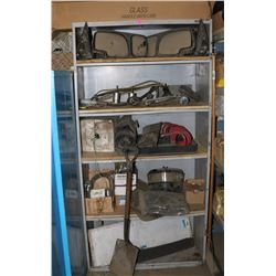 SHELF WITH CONTENTS, INCLUDES TRUCK MIRRORS,