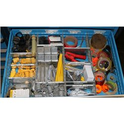 DRAWER OF TAPE, CAPS, FITTINGS, ELECTRICAL ENDS &