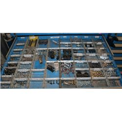 DRAWER WITH ASSORTED, NUTS, BOLTS, BRASS FITTINGS