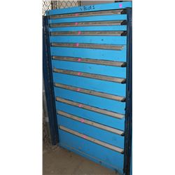 BLUE 10 DRAWER METAL PARTS CABINET