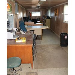 TRAILER OFFICE CONTENTS: INCLUDES DESKS, MONITORS