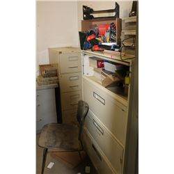OFFICE LOT: INCLUDES 2 FILE CABINETS, PRINTER,
