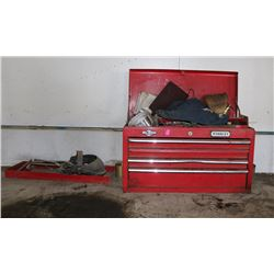 RED TOOLBOX WITH CONTENTS OF VARIOUS TOOLS