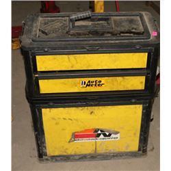 PLASTIC TOOLBOX ON WHEELS WITH CONTENTS