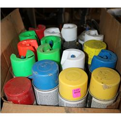 BOX OF MISC COLOR SPRAY PAINTS
