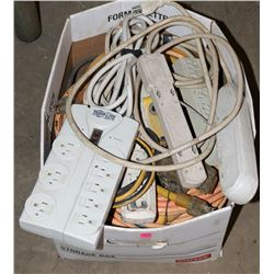LARGE BOX OF EXTENSION CORDS WITH POWER BARS