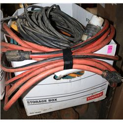 LARGE BOX OF VARIOUS EXTENSION CORDS