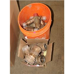 BUCKET & BOX OF BRASS CAMBRIGE FITTINGS