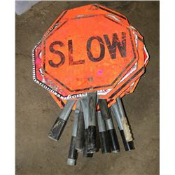 LOT OF STOP & SLOW HANDHELD SIGNS