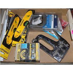 LOT OF HAND TOOLS, NEW LEVELS, STAPLERS & MORE