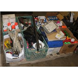 PALLET OF VARIOUS CLEANERS, SPRAY PAINTS & MORE