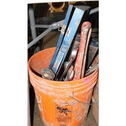BUCKET OF VARIOUS TOOLS: INCLUDES PIPE WRENCHES,