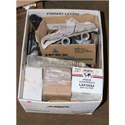 BOX OF NEW ROLLS OF PIPE THREAD TAPE, DUCT TAPE,