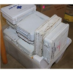 LARGE LOT OF METAL FIRST AID KITS