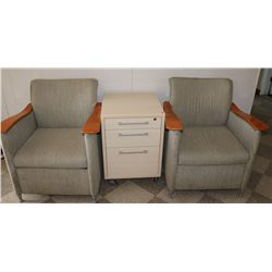 PAIR OF CLUB CHAIRS AND ROLLING 3 DRAWER CABINET