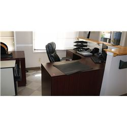 FRONT DESK, COMES WITH DESK, CHAIR,  2 DRAWERED