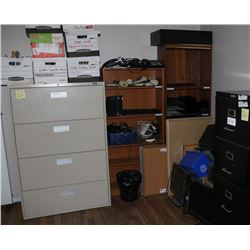 OFFICE #1: 3 SHELVES, 2 FILE CABINETS, MONITORS