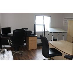 OFFICE #2: 2 DESKS, DRAFTING TABLE, MONITORS, 4