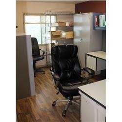 OFFICE #3: L-SHAPE DESK, MONITOR, DIVIDER WALLS