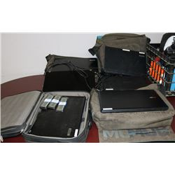 LOT OF 5 LAPTOPS WITH BAGS