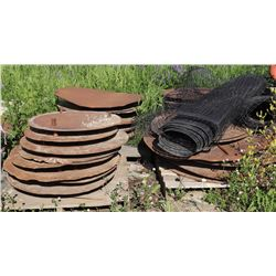 4 PALLETS OF CIRCULAR METAL HOLE COVERINGS