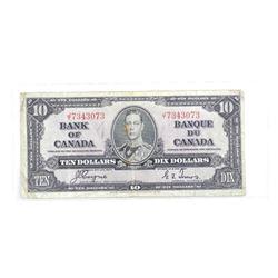 1937 Bank of Canada Ten Dollar Note. C/T