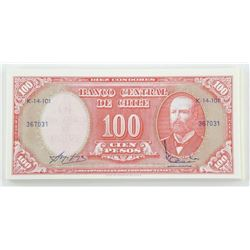Lot (60) 'CHILE' 100 Pesos 1961 In Sequence UNC