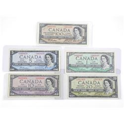 Lot (5) Bank of Canada 1954 Modified Portrait - On