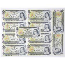 Lot (11) Bank of Canada 1973 1.00 Mixed