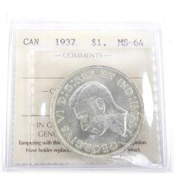 1937 Canada Silver Dollar. MS-64. ICCS