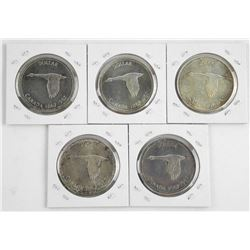 Lot (5) 1867-1967 Silver Dollars