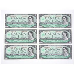 Lot (6) Bank of Canada 1967 One Dollar Note. Cente