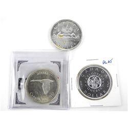 Lot (3) Canada Silver Dollars: 1961, 1964, 1967