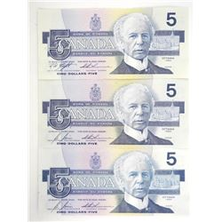 Lot (3) 1986 Bank of Canada Five Dollar Note. Choi