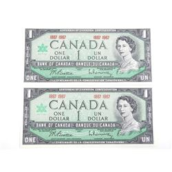 Lot (2) 1867-1967 Bank of Canada One Dollar Note.
