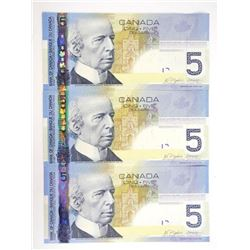Lot (3) 2006 Bank of Canada Five Dollar Note 'Hock