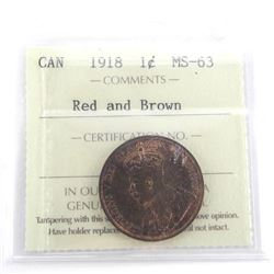 1918 Canada Large 1 Cent MS63. ICCS. Red and Brown