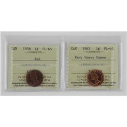 Lot (2) Canada 1 Cent 1958 PL65 Red and 1963 PL66.