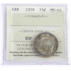 1939 Canada Silver 25 Cent MS64 ICCS.
