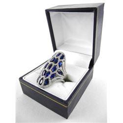 925 Silver Custom Ring Marquise Design Sapphire Bl
