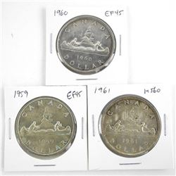 Lot (3) Canada Silver Dollars: 1959, 1960, 1961 Gr