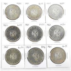 Lot (9) 1964 Canada Silver Dollars