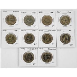 Grouping of (10) US Presidential Dollar coins.