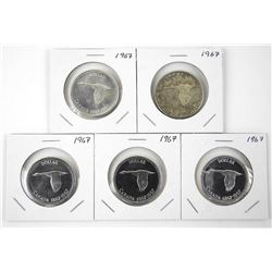 Lot (5) 1967 Canada Silver Dollars