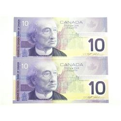 Lot (2) 2001 Bank of Canada Ten Dollar Note (FDV)